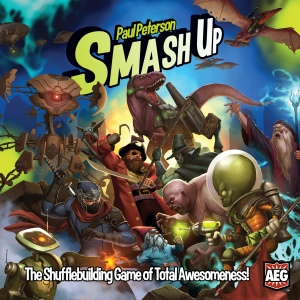 Smash Up is for 2-4 players (expansions can add more people), and plays in roughly 20-45 minutes